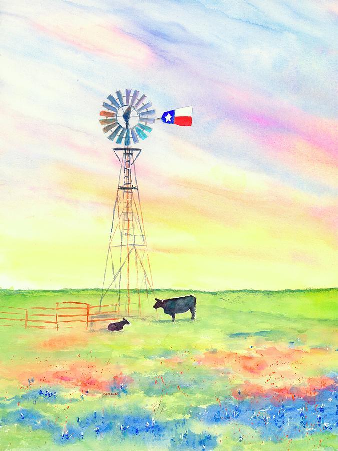 Texas Windmill Bluebonnets and Cattle by Carlin Blahnik CarlinArtWatercolor