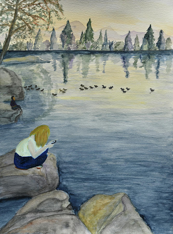 Texting on a Rock at a Serene Lake   by Linda Brody