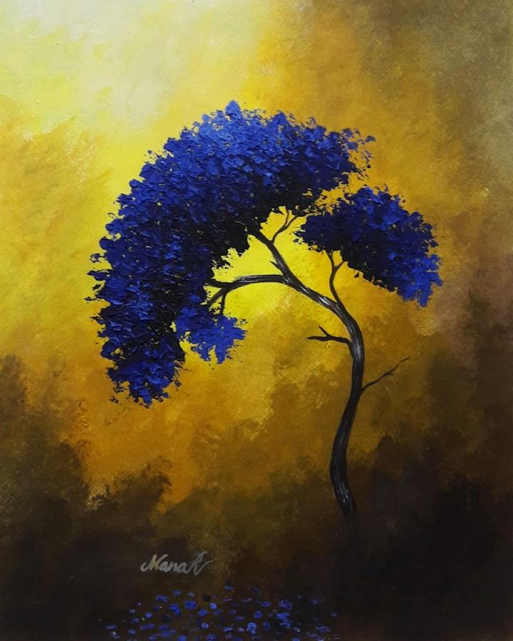 Tree Painting - Textured Blue Tree by Manar Hawsawi