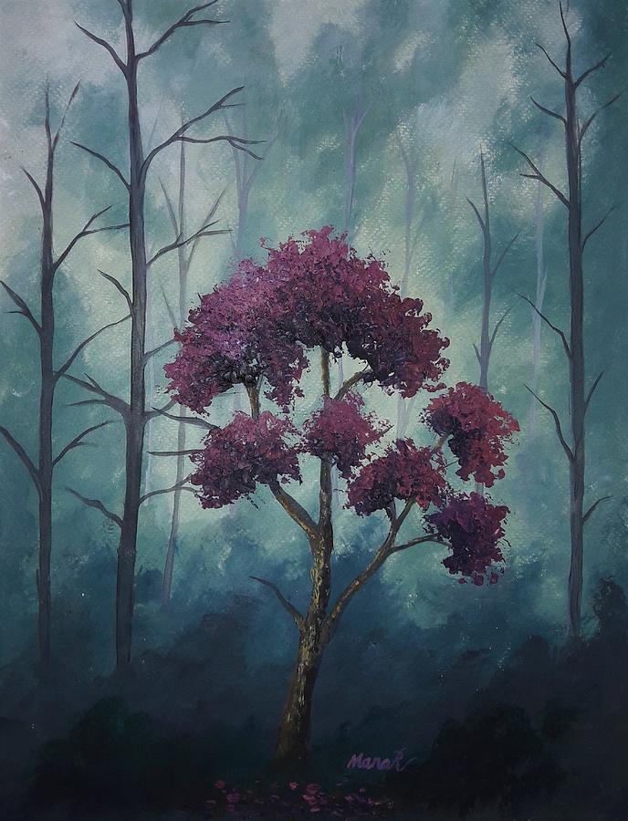 Tree Painting - Textured Purple Tree by Manar Hawsawi
