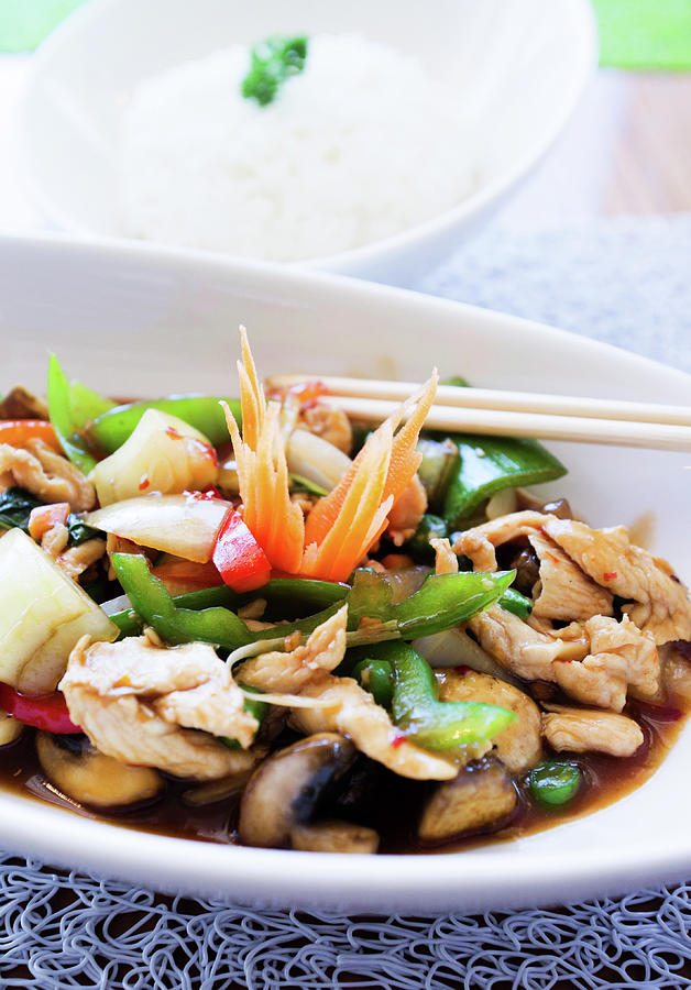 Thai Basil Chicken Dish And Bowl Of Photograph by Rapideye