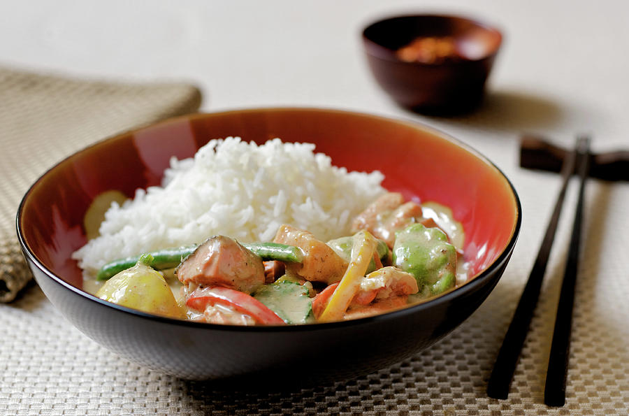 Thai Curry With Fish, Vegetables, And Photograph by Nightanddayimages