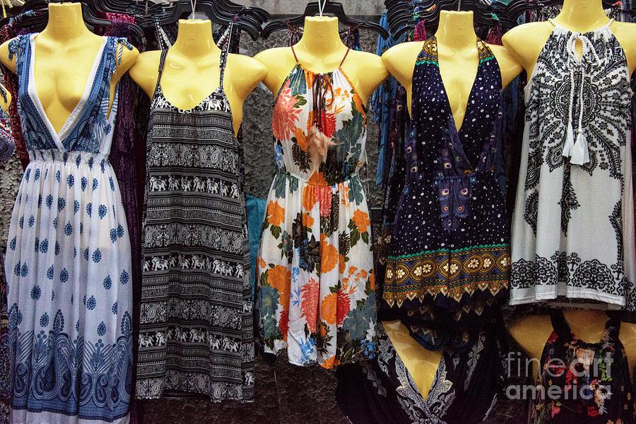 Thai Dresses at Bangkok Night Market by Bob Phillips