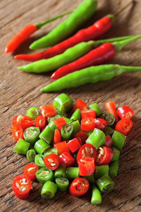 Thai Red And Green Fresh Market Chili Photograph by Enviromantic