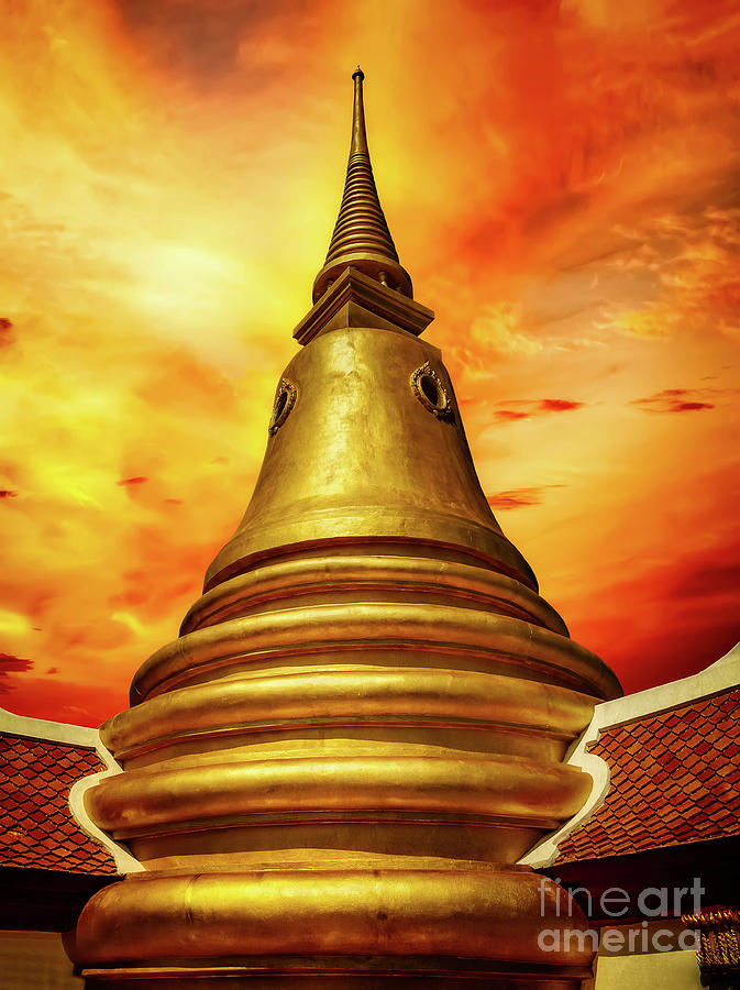 Thai Temple Sunset by Adrian Evans