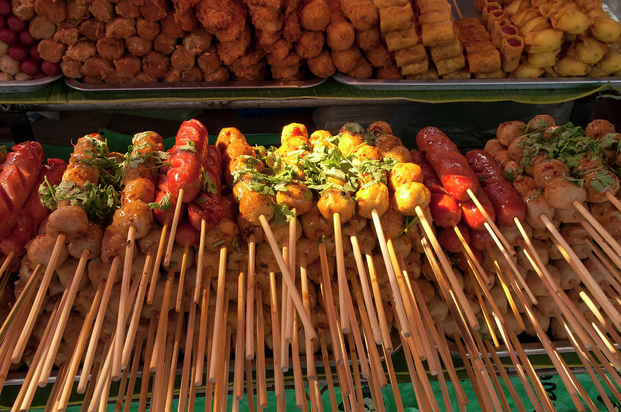 Thailand Skewers Of Grilled Meats Photograph by M Timothy Okeefe