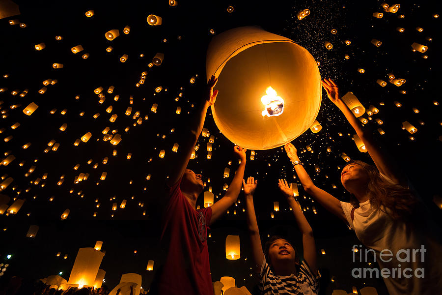 Happy Photograph - Thais Family Release Sky Lanterns To by Patrick Foto