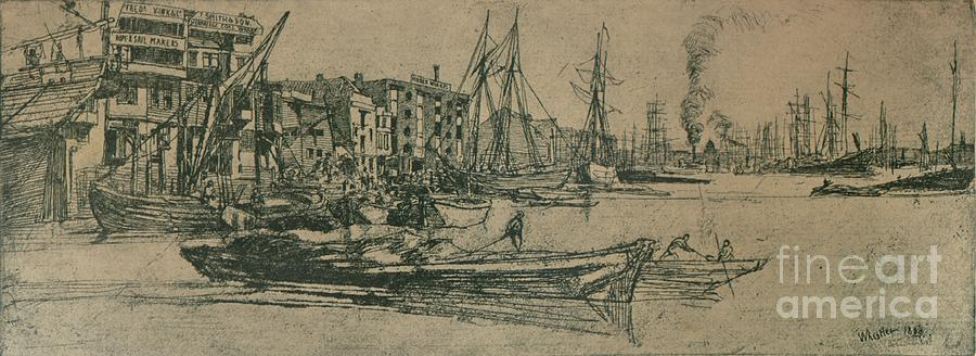 Thames Warehouses, 1859, 1904 Drawing by Print Collector