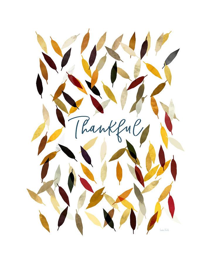 Gratitude Digital Art - Thankful Leaves- Art by Linda Woods by Linda Woods