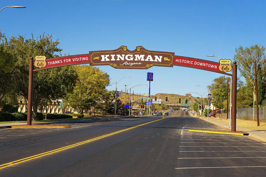 Thanks for visiting Kingman downtown street sign located on historic route  66 Photograph by Miroslav Liska