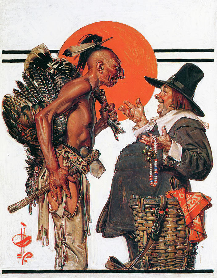 Joseph Christian Leyendecker Painting - Thanksgiving, Indians To Negotiate With Pilgrim - Digital Remastered Edition by Joseph Christian Leyendecker