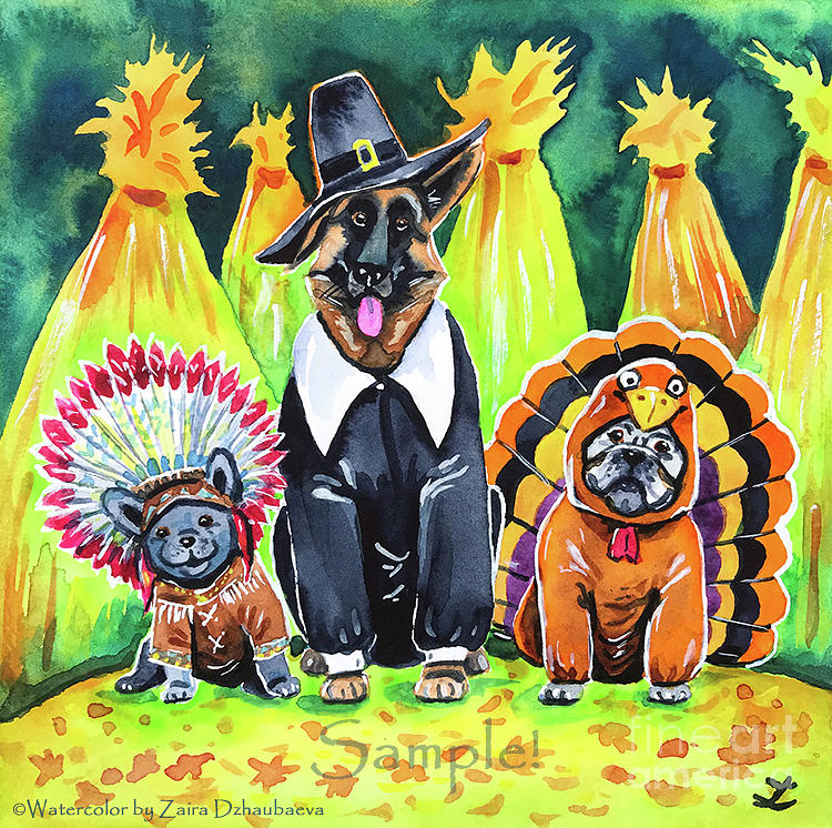 Thanksgiving Pups by Zaira Dzhaubaeva