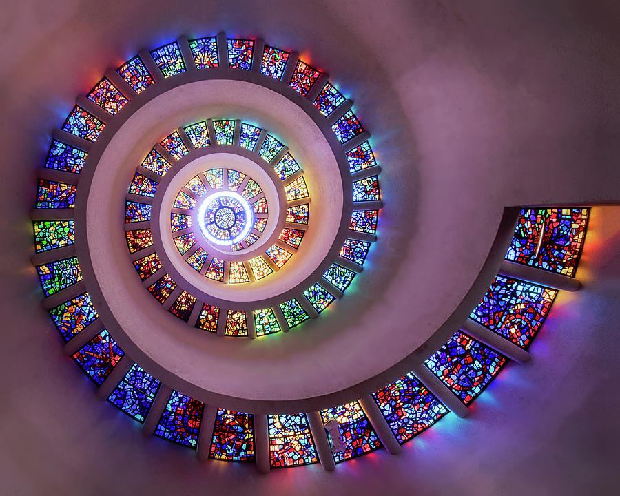 Thanksgiving Square Chapel Stained Glass Ceiling by Harriet Feagin