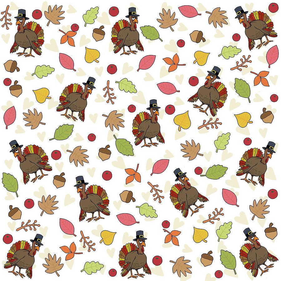 Pattern Digital Art - Thanksgiving Turkey Pattern by Valentina Hramov