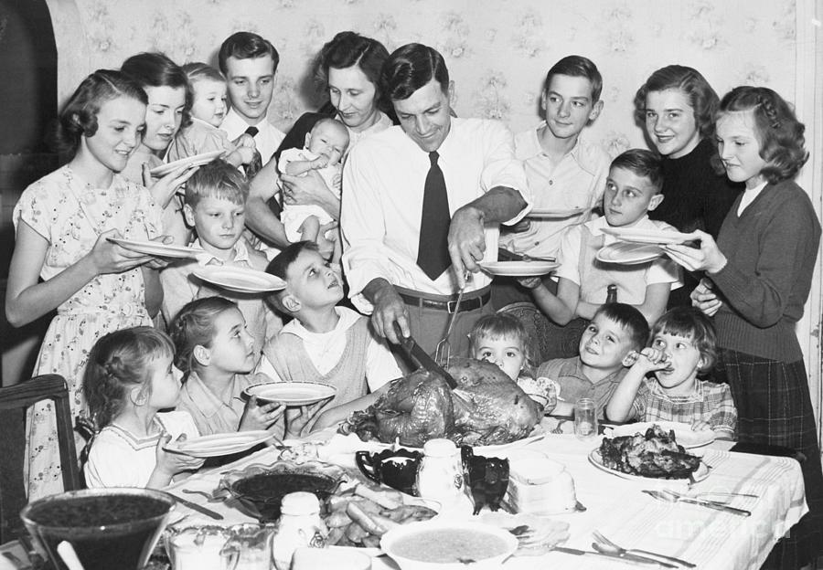 Thanksgiving With Large Family Photograph by Bettmann