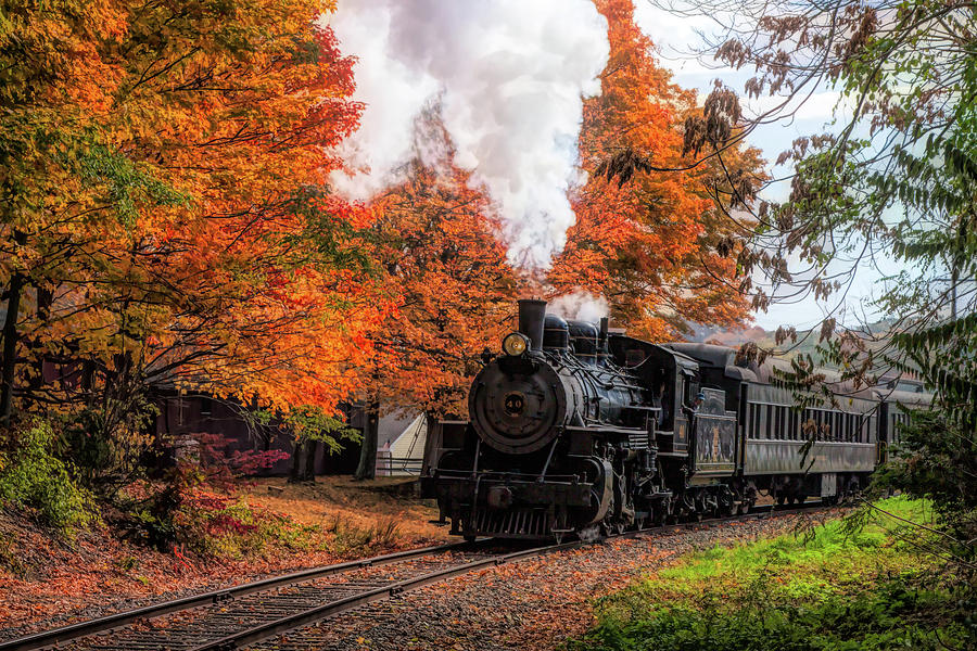 The #40 chugging through the fall colors by Jeff Folger