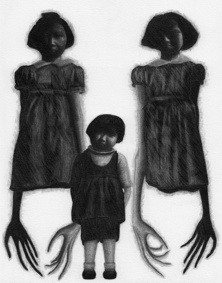 Horror Drawing - The Abberant Sisters - Artwork by Ryan Nieves