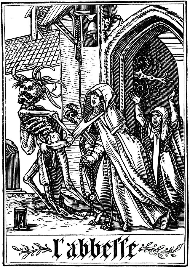 The Abbess Visited By Death, 1538 Drawing by Print Collector