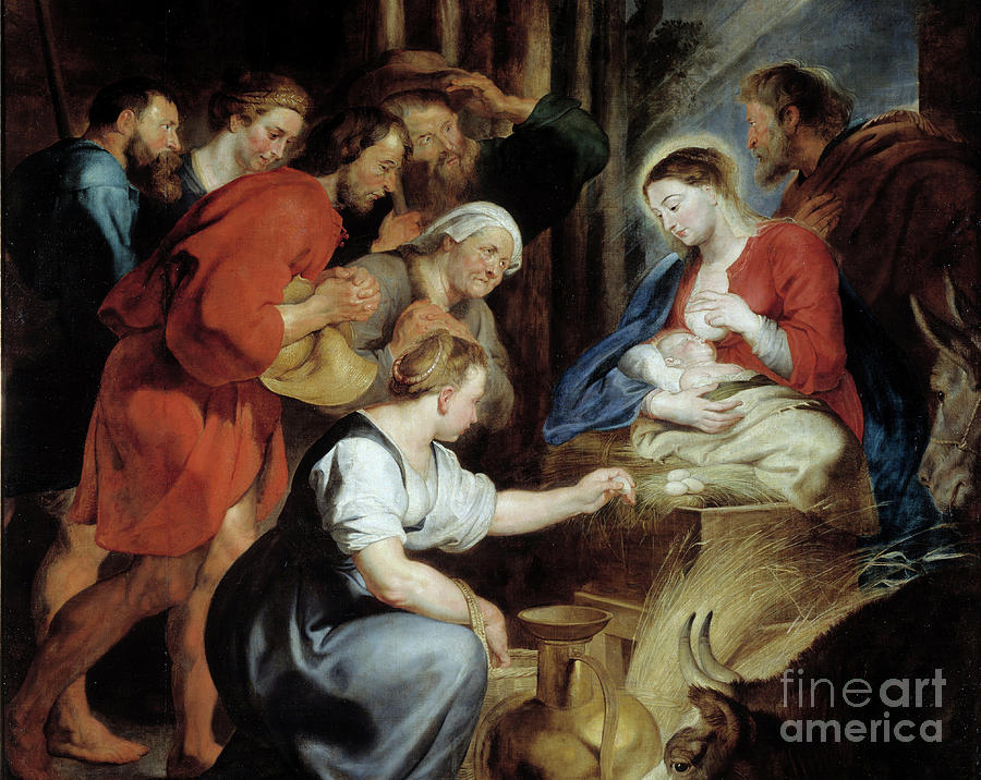 Girl Painting - The Adoration Of Shepherds Detail Painting By Rubens by Rubens