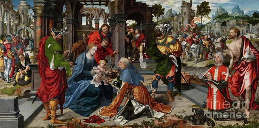 Adoration Painting - The Adoration Of The Magi With Donor  by Noel Bellemare