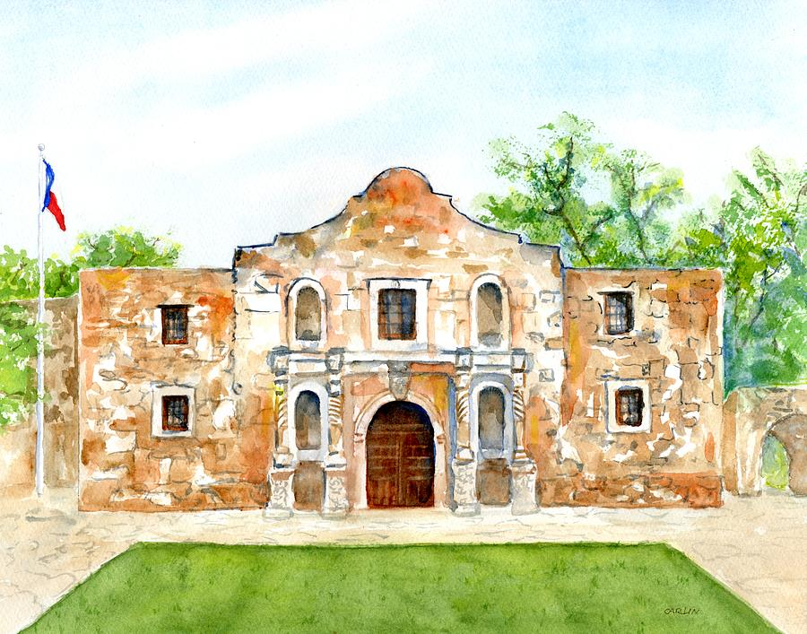 The Alamo Mission Texas by CarlinArt Watercolor