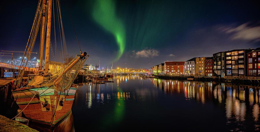The amazingl night Panorama over Trondheim's Canal with Northern by Aziz Nasuti