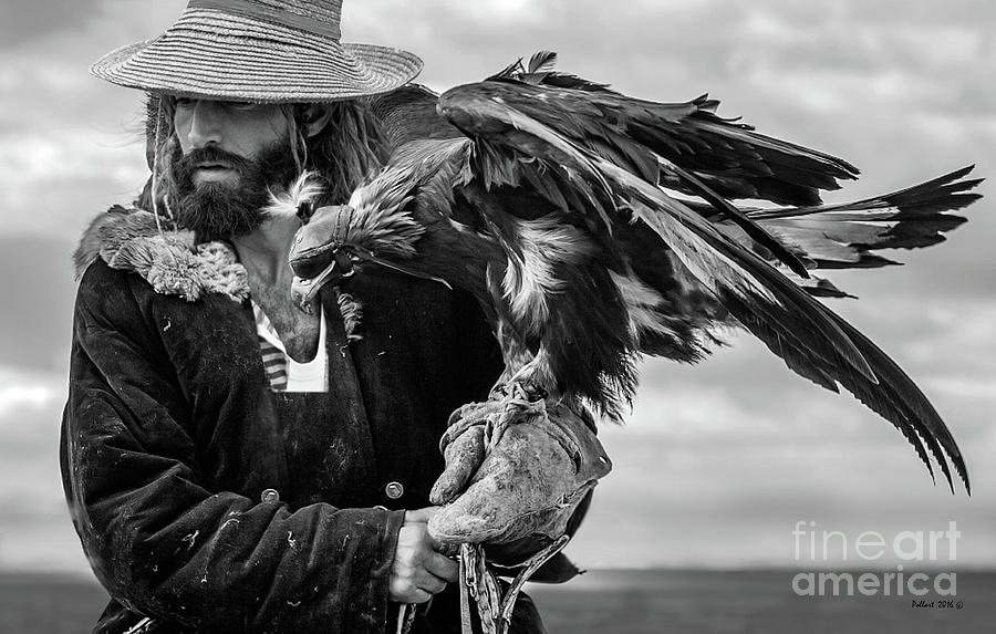 Hunting Photograph - The American Sportsman, Falconry With An Eagle, Black And White by Thomas Pollart