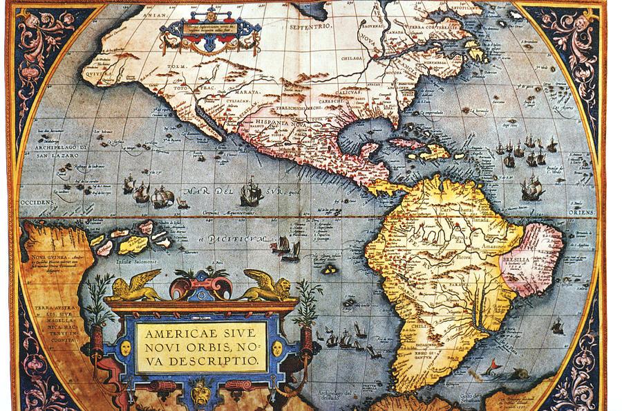 The Americas, 1587 Map By Abraham Digital Art by Fototeca Gilardi