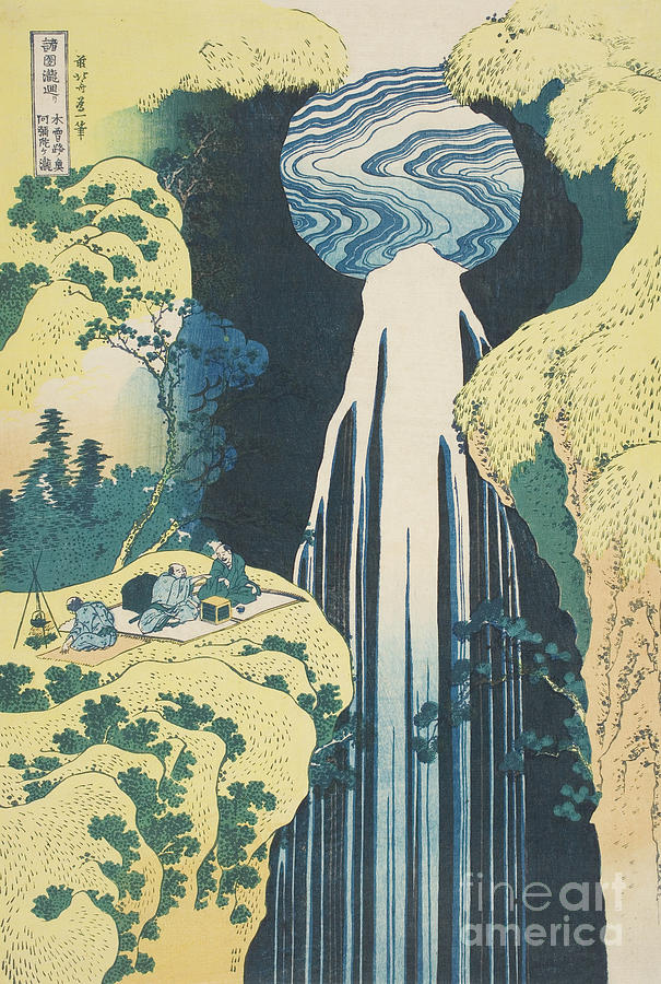 Hokusai Painting - The Amida Waterfall In The Province Of Kiso  by Hokusai