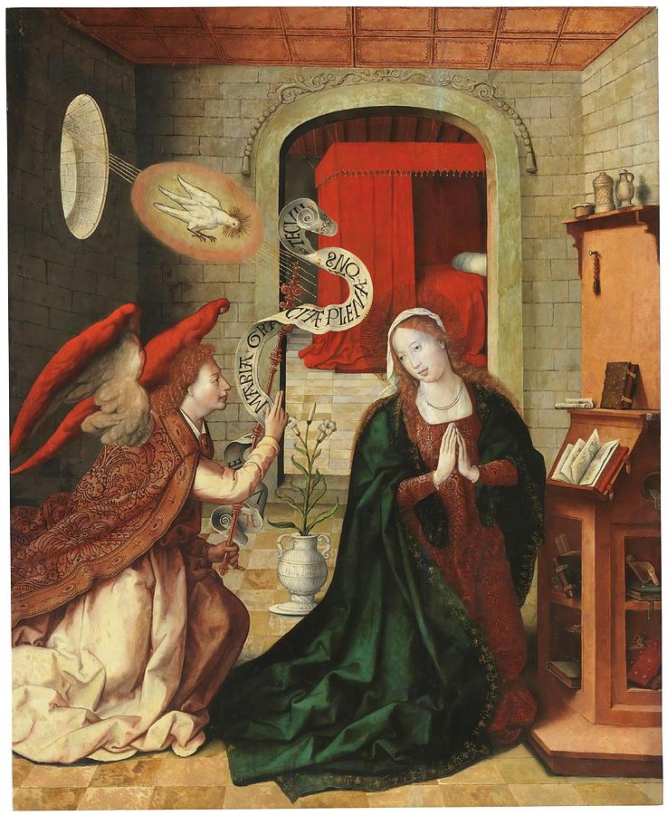 'The Annunciation'. 1501 - 1535. Oil on panel. ARCHANGEL GABRIEL. VIRGIN  MARY. Painting by Leon Picardo