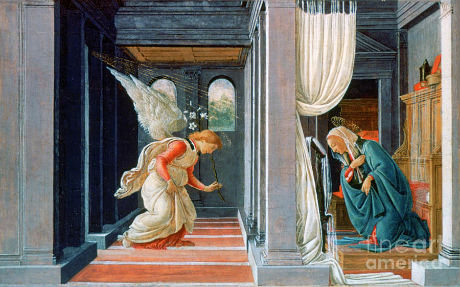 The Annunciation, C1485. Artist Sandro Drawing by Print Collector