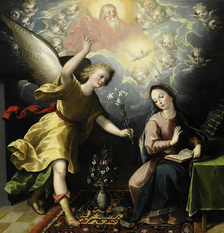 The Annunciation Painting - The Annunciation by Luis Juarez