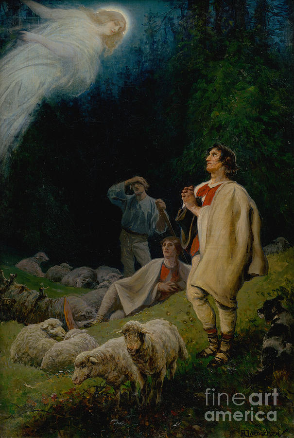 The Annunciation To The Shepherds Drawing by Heritage Images
