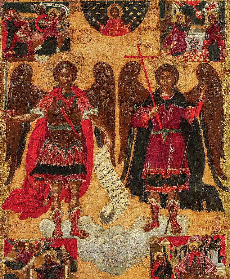 Saint Michael Painting - The Archangels Michael And Gabriel With Scenes, 17th Century by Unknown