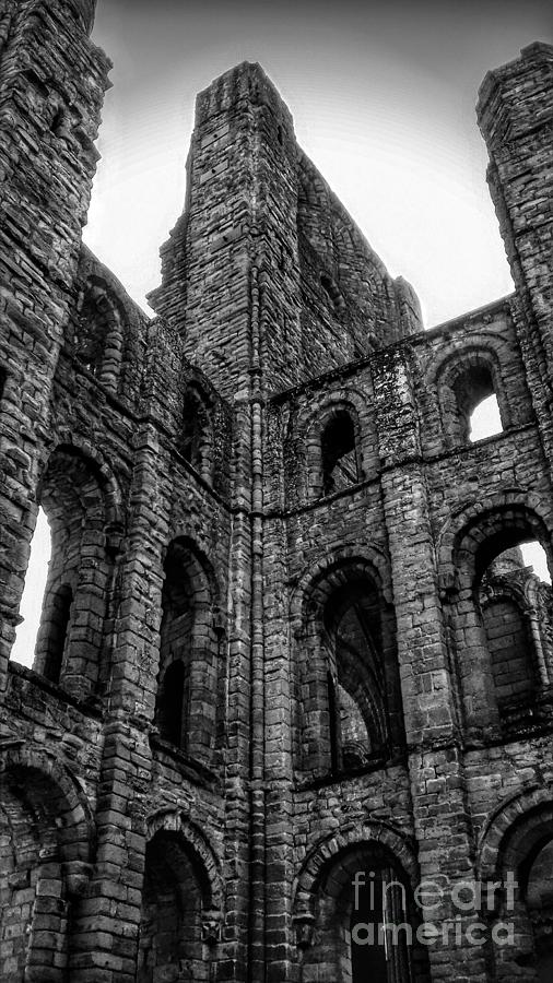 The Arched Windows of Kelso Abbey in Monochrome  by Joan-Violet Stretch