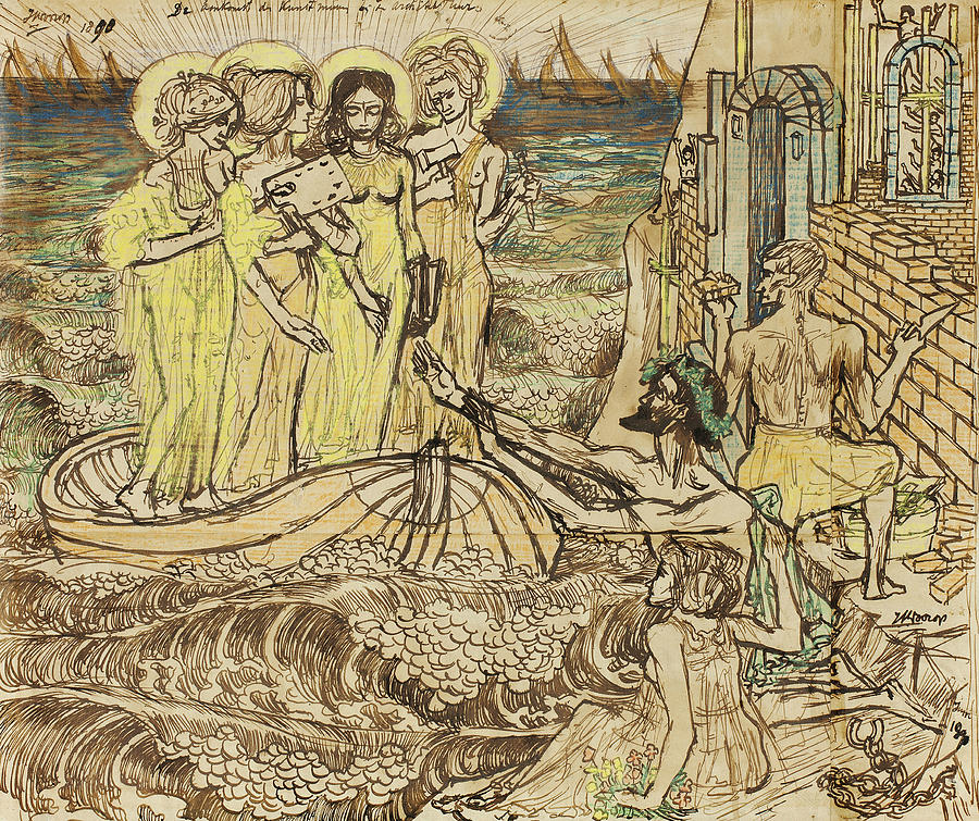 Dutch Painters Drawing - The Arrival Of The Muses Of Art At Architecture by Jan Toorop