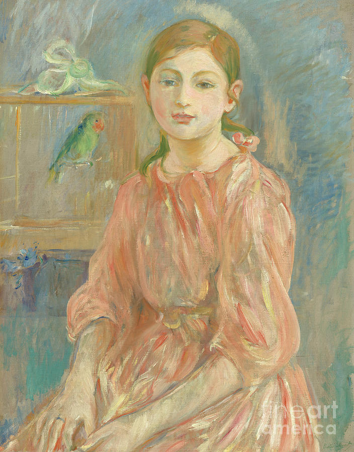 Berthe Morisot Painting - The Artists Daughter With A Parakeet, 1890  by Berthe Morisot