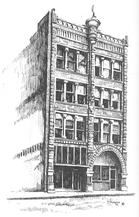 Helena Drawing - The Atlas Block, Helena, Montana by Kevin Heaney
