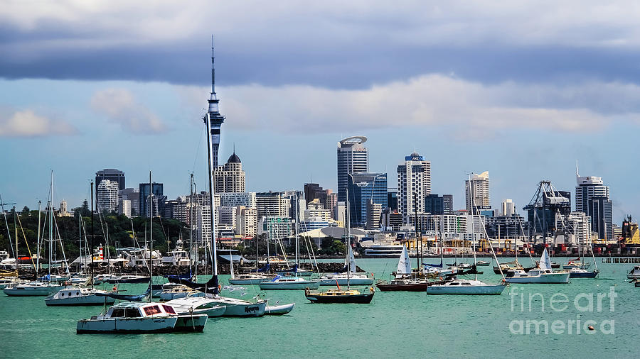 The Auckland Skyline, New Zealand by Lyl Dil Creations