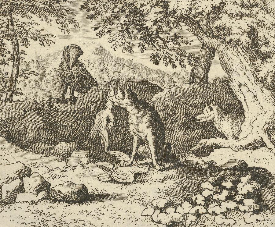 Dutch Painters Relief - The Badger Hurries To Warn Renard Of The Lions Intention by Allaert van Everdingen