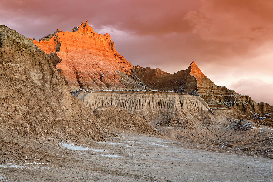 Badlands Photograph - The Badlands With Another Sunrise by Jim Thompson