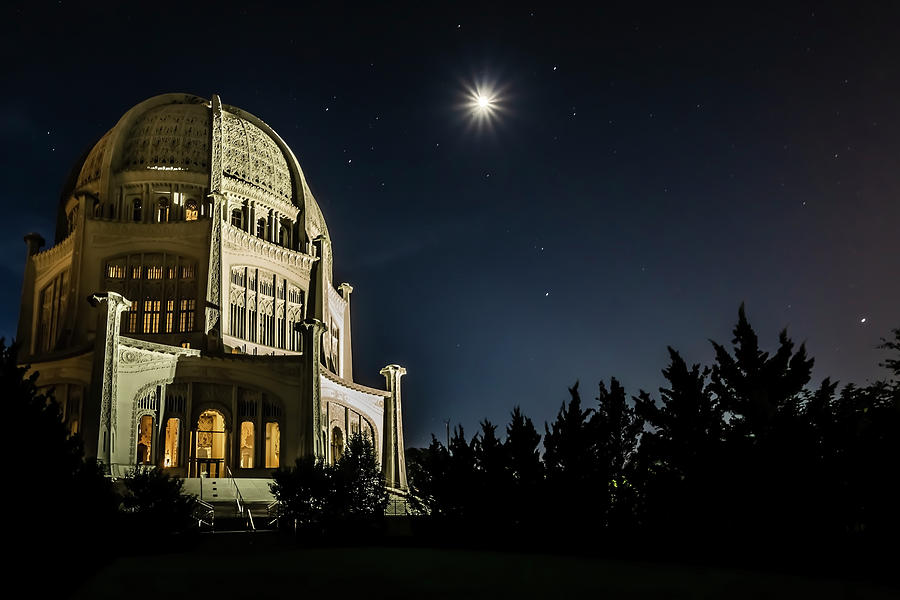 Temple Photograph - The Bahais Temple On A Starry Night by Sven Brogren