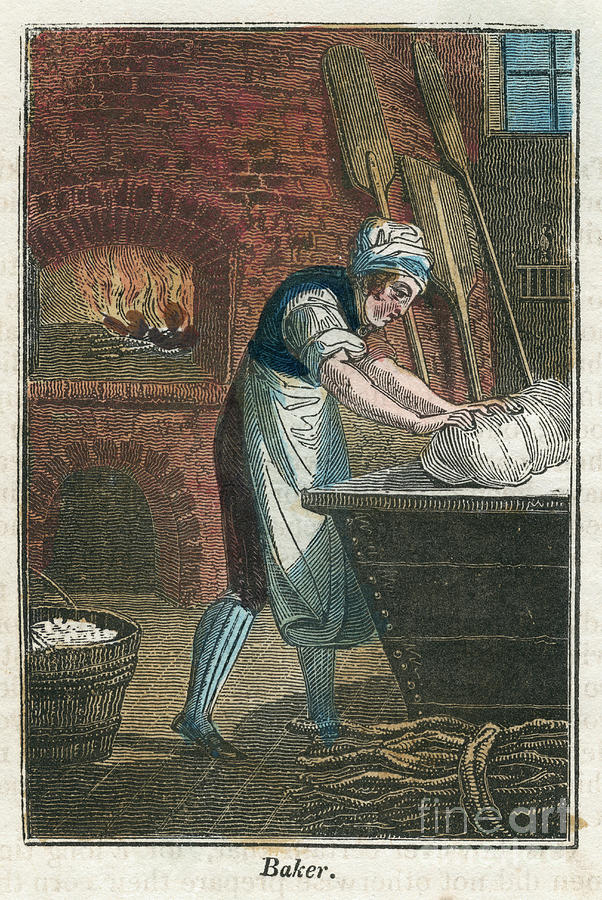 The Baker Kneading Dough On The Lid Drawing by Print Collector