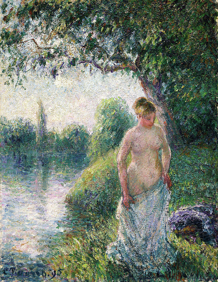 The Bather Painting - The Bather - Digital Remastered Edition by Camille Pissarro
