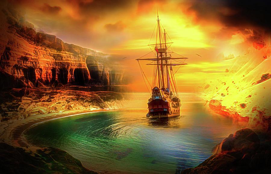 Sailing Digital Art - The Bay by Jasmina Seidl