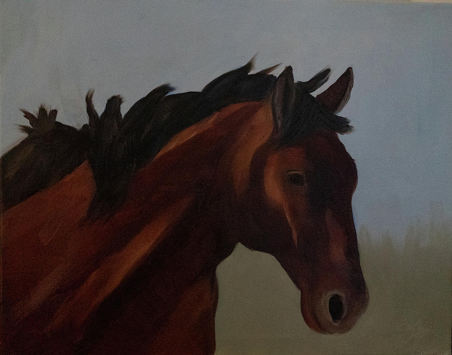 The Bay Mustang by Fine Art Western Paintings