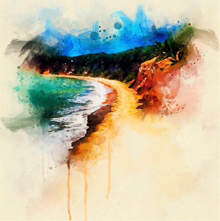 Beach Painting - The Beach by ArtMarketJapan