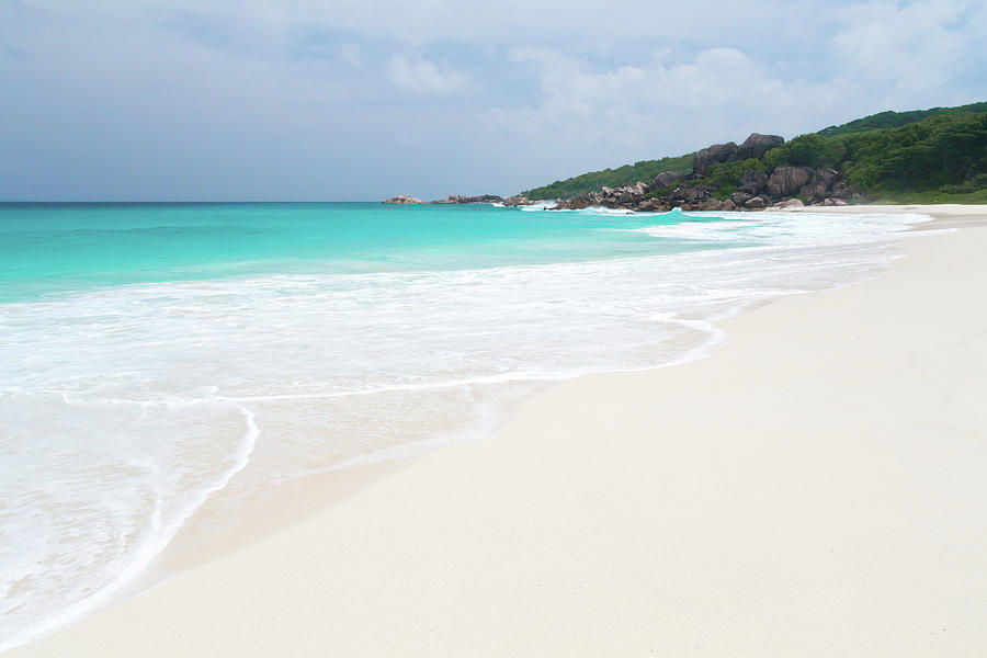 The Beach With White Sand And Turquoise Water With Waves Photograph By Cavan Images