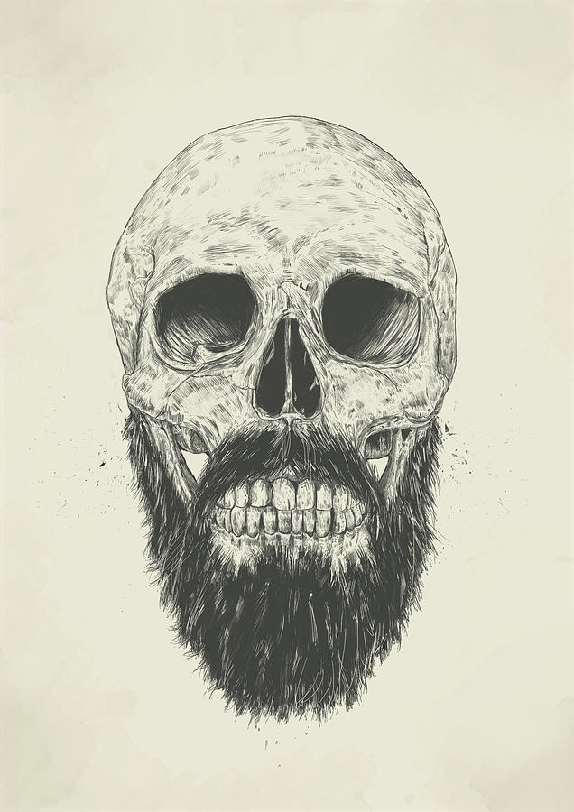 Skull Drawing - The beard is not dead by Balazs Solti