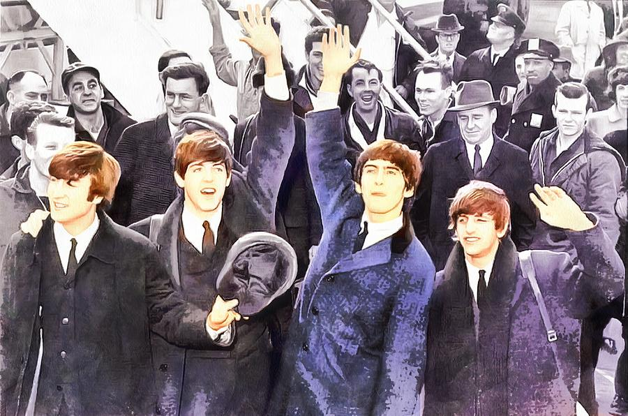 Abstract Photograph - The Beatles 1964 Arrival In New York - A Watercolor by Robert Kinser